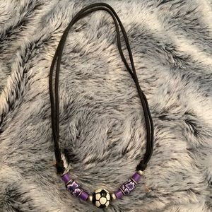 Purple Soccer Ball Necklace